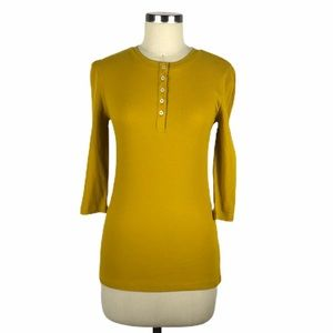 1901 Ribbed Knit Henley Yellow Long Sleeve S NWT